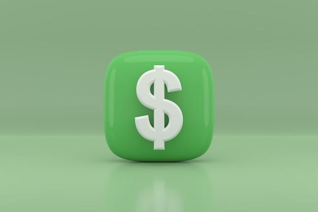 Projekt ikona znak dolara. renderowanie 3d.