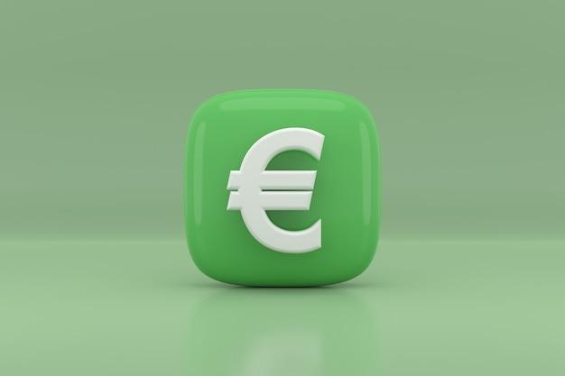 Projekt ikony znak euro. renderowanie 3d.