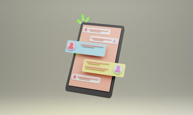 Projekt ilustracji 3d smartfona z czatem