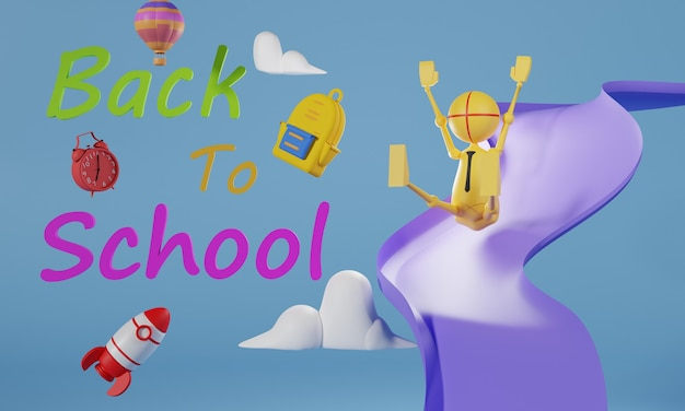 Projekt ilustracji 3d z powrotem do szkoły