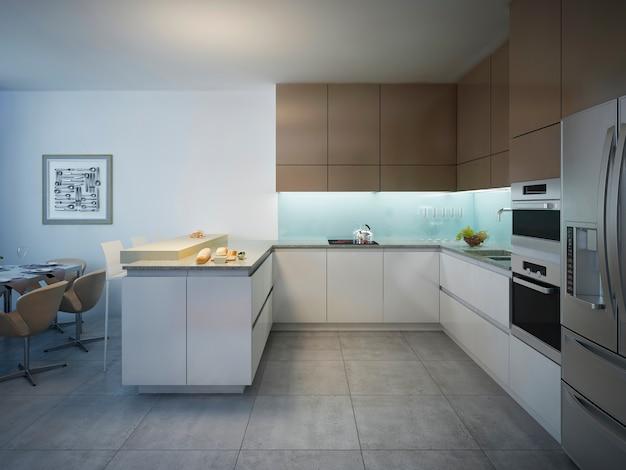 Projekt jasnej nowoczesnej kuchni z barem.
