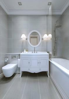 Projekt klasycznej łazienki z jasnoszarymi ścianami