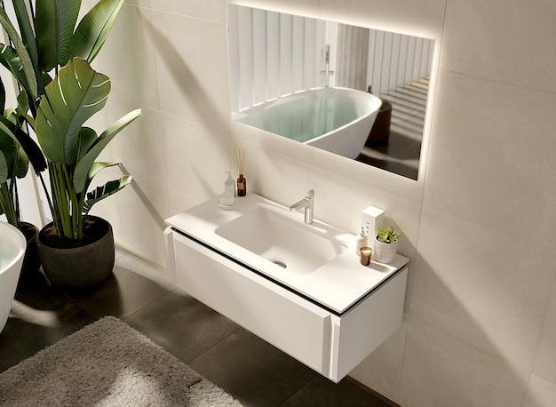 Projekt łazienki z lustrem i zieloną rośliną