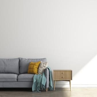 Projekt makiety mebli na tle nowoczesnego wnętrza, minimalistyczny salon, styl skandynawski, renderowanie 3d, ilustracja 3d