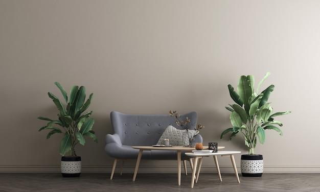Projekt makiety mebli w nowoczesnym tle wnętrza, beżowa ściana salonu, styl skandynawski, renderowanie 3d, ilustracja 3d