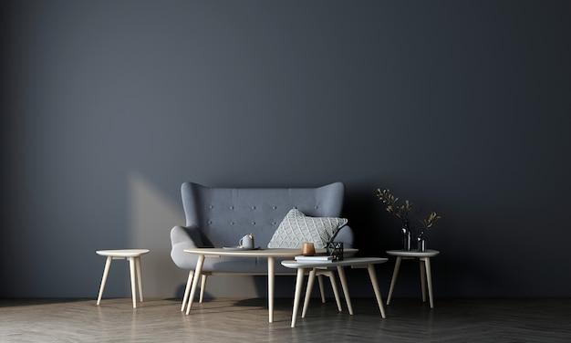 Projekt mebli makietowych w nowoczesnym wnętrzu i niebieskim tle ściany, minimalistyczny salon