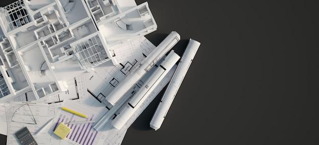 Projekt mieszkania czarny