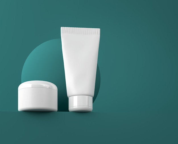 Projekt naturalnego kremu kosmetycznego, serum, puste opakowanie butelki do pielęgnacji skóry. bio produkt ekologiczny. szablon prezentacji. abstrakcyjne tło. ilustracja 3d