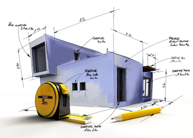 Projekt nowoczesnego budynku z notatkami i pomiarami ołówkiem i centymetrem