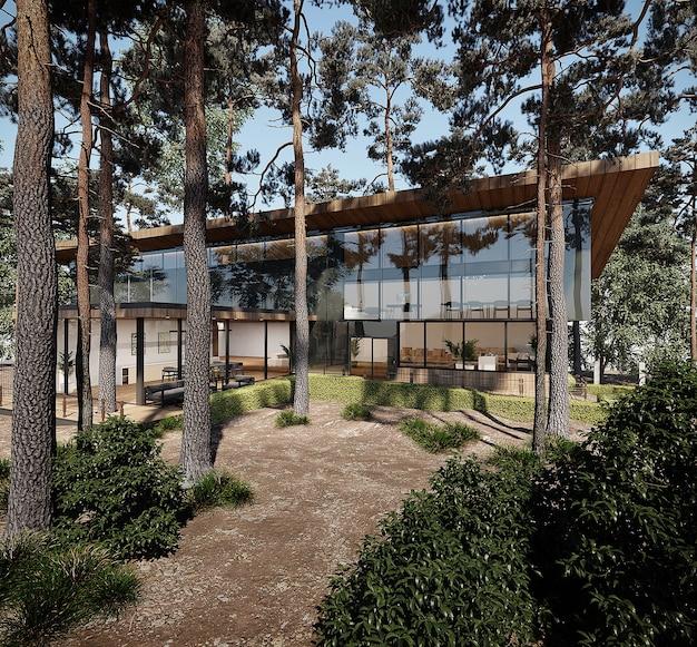 Projekt nowoczesnego domu z drewnianym dachem w lesie. wolny