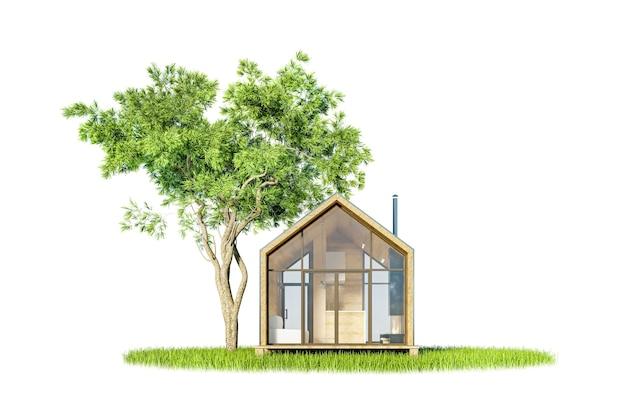 Projekt nowoczesnego małego drewnianego domu w stylu skandynawskim, z metalowym dachem na wyspie zieleni z drzewami