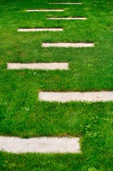 Projekt ogrodu, chodniki trawnikowe i taras