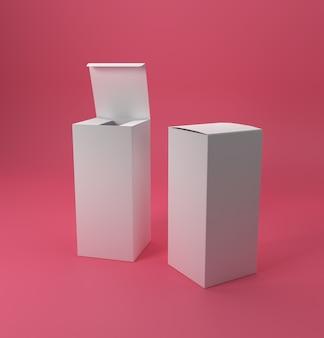Projekt opakowania w postaci białych pudełek uzupełniających. ilustracja 3d