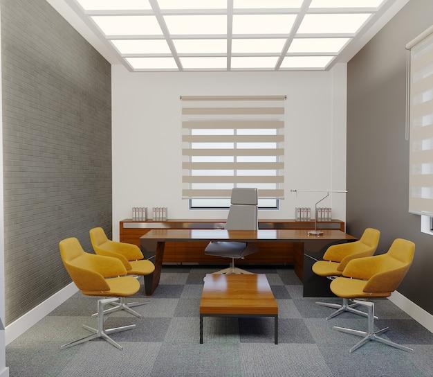 Projekt pokoju menedżera z pomarańczowym krzesłem i stołem, renderowanie 3d