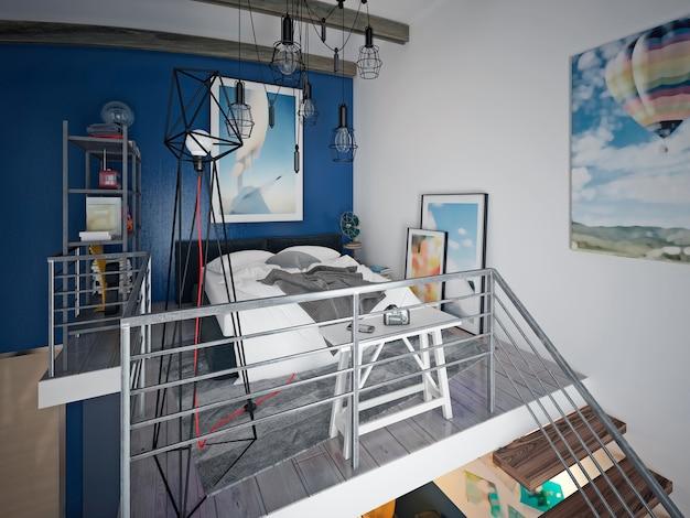 Projekt pokoju nastolatka w stylu loftowym z sofą i szafką rtv oraz schodami prowadzącymi na piętro.