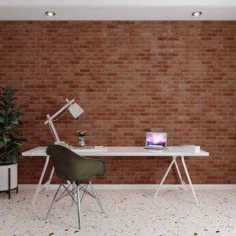 Projekt pokoju z krzesłem i stołem przed murem z czerwonej cegły