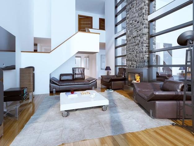 Projekt przytulnego nowoczesnego salonu z wysokim sufitem.