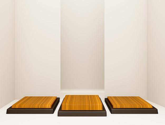 Projekt pustego pokoju z 3-stopniowym podium do wyświetlania produktów, pusty wyświetlacz na podłodze w minimalistycznym stylu