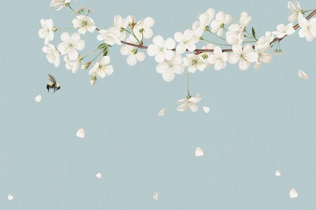Projekt pustej białej karty kwiatowy
