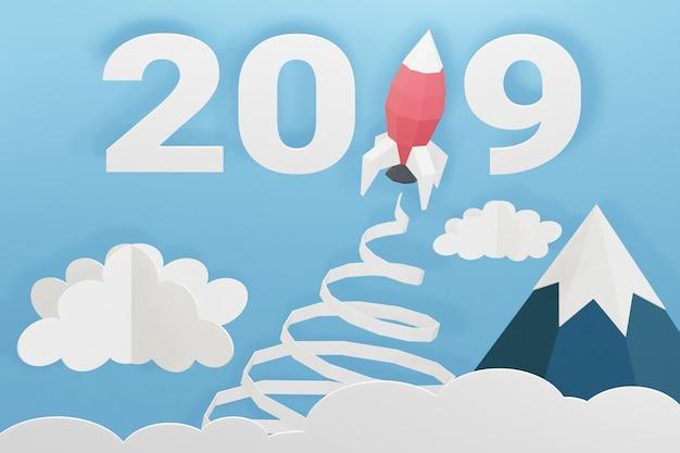Projekt renderowania 3d, papierowy styl szczęśliwego nowego roku 2019 z wystrzeleniem rakiety na niebie.