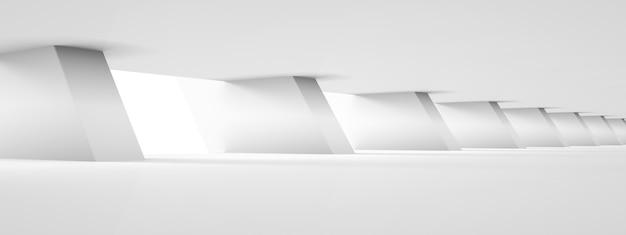 Projekt sali z białą kolumną, futurystyczne tło architektury, renderowanie 3d, obraz panoramiczny
