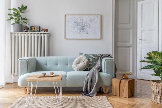 Projekt salonu z makietą ramka plakatowa sofa meble rośliny i akcesoria szablon