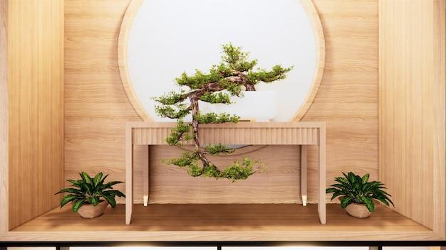 Projekt ściany półki zen wnętrze salonu w stylu japońskim. renderowania 3d