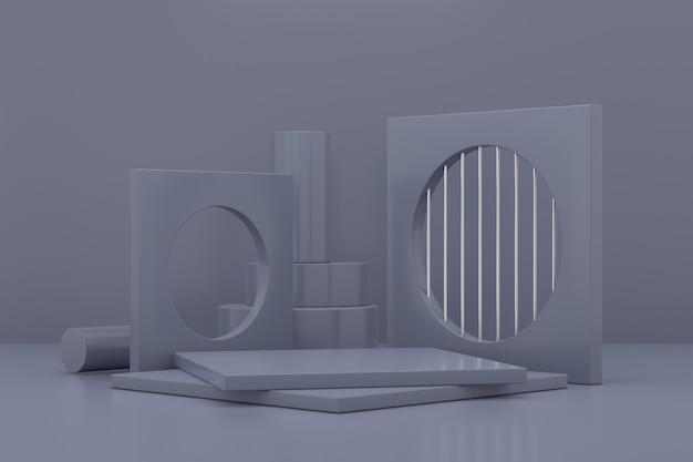 Projekt stojaka ekspozycyjnego. wyświetlacz produktów 3d. renderowanie 3d.
