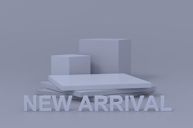 Projekt stojaka ekspozycyjnego z nowym nabytkiem. renderowanie 3d.