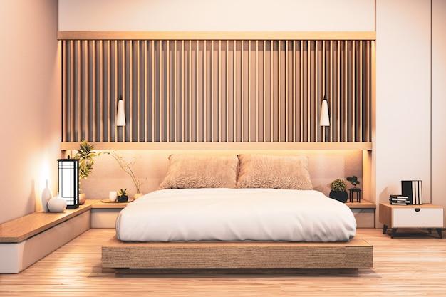 Projekt sypialni japoński drewniany z listwami i ukrytą lekką ścianą. renderowanie 3d