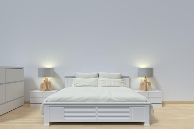 Projekt sypialni nowoczesny ma lampę i szafkę