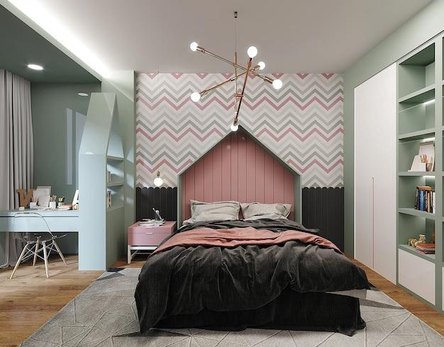 Projekt sypialni z łóżkiem z poduszkami i różowo-czarną narzutą