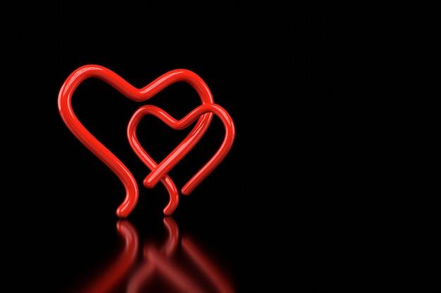 Projekt tapety w kształcie serca. renderowanie 3d.