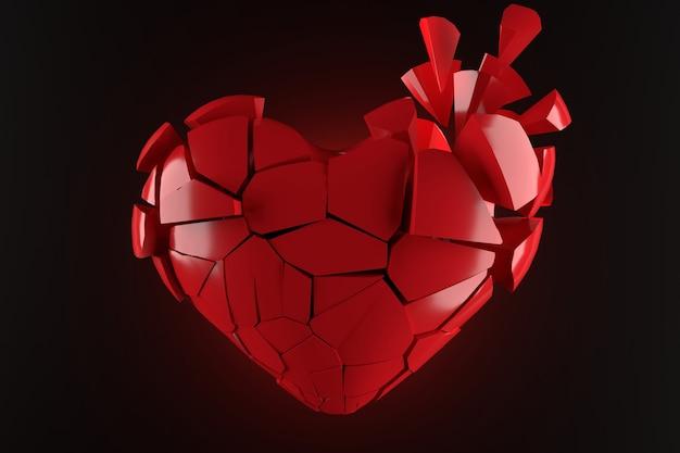 Projekt tapety złamane serce. renderowanie 3d.