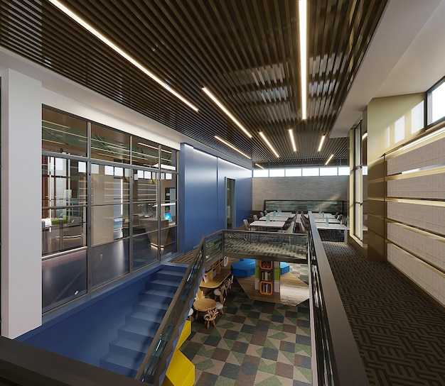 Projekt wnętrz nowoczesnego budynku biblioteki, renderowania 3d