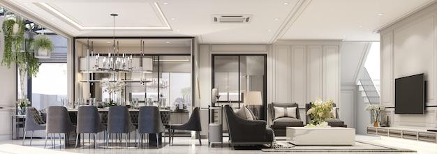 Projekt wnętrz nowoczesny klasyczny styl salonu i jadalni z czarnym marmurem i czarną stalową teksturą oraz szarymi meblami wbudowanymi w renderowanie 3d panorama wnętrza