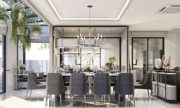 Projekt wnętrz nowoczesny klasyczny styl salonu i jadalni z czarnym marmurem i czarną stalową teksturą oraz szarymi meblami wbudowanymi w renderowanie 3d