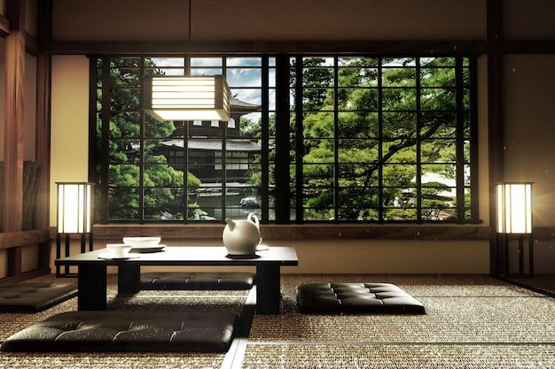 Projekt wnętrz, nowoczesny salon ze stołem, lampa, maty tatami, japoński styl, 3d render