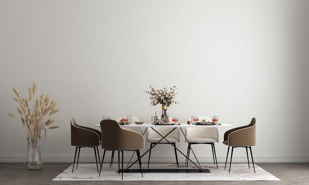 Projekt wnętrza białej jadalni ze stylowymi modułowymi drewnianymi krzesłami, drewnianymi stołami, roślinami, neutralną ścianką działową, dekoracją i eleganckimi dodatkami.