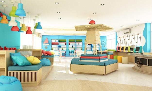 Projekt wnętrza biblioteki szkolnej dla dzieci dla ucznia z kolorem i drewnem. koncepcja zabawy i oceanu renderowania 3d