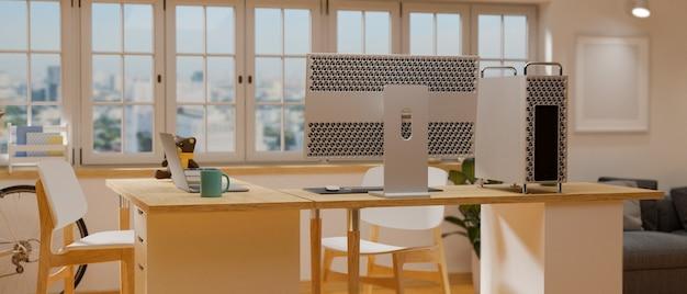 Projekt wnętrza biura domowego z drewnianym stołem komputerowym, sofą i oknem renderowania 3d