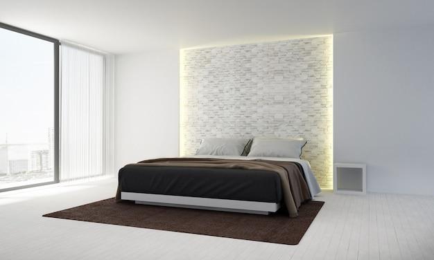 Projekt wnętrza dekoracyjnego i sypialni oraz tła ściany z cegły i widoku na morze