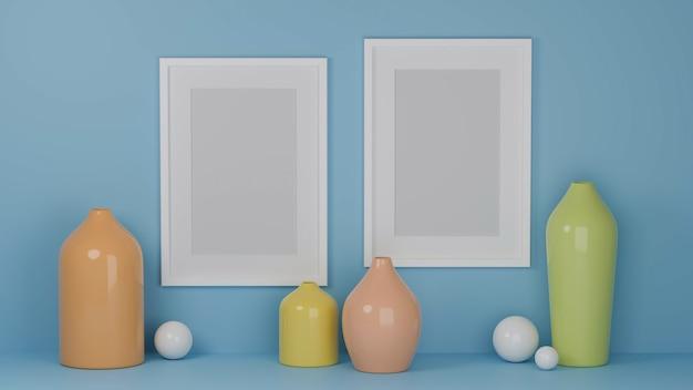 Projekt wnętrza domu z makietowymi ramkami na jasnoniebieskiej ścianie i pastelowymi wazonami do wystroju domu