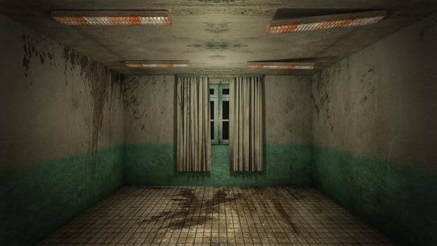 Projekt wnętrza horroru i przerażających uszkodzeń pustego pokoju., renderowanie 3d.