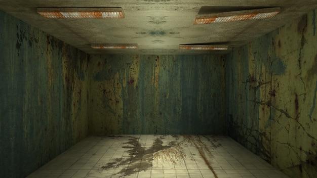 Projekt wnętrza horroru i przerażających uszkodzeń pustego pokoju, renderowanie 3d.