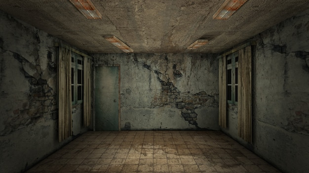 Projekt wnętrza horroru i przerażających uszkodzeń pustego pokoju