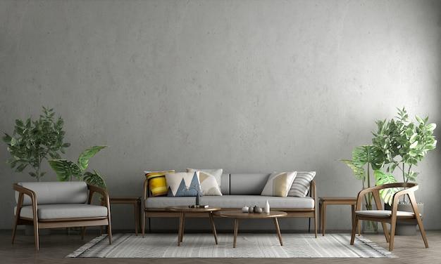 Projekt wnętrza i salonu oraz pusta ściana betonowa