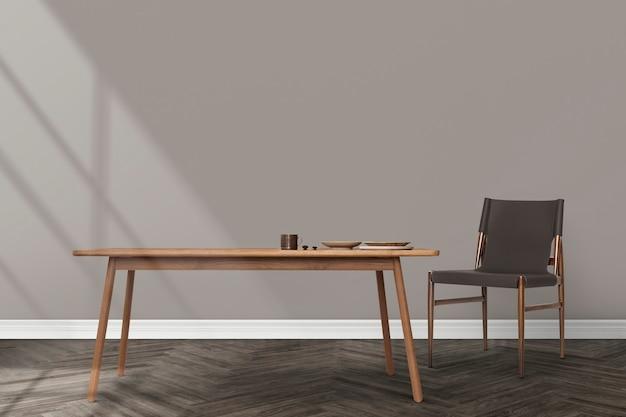 Projekt wnętrza jadalni japandi z drewnianym stołem