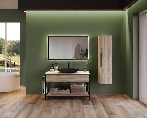 Projekt wnętrza łazienki z szafką i półką, przed zieloną ścianą, renderowanie 3d