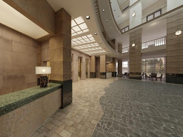 Projekt wnętrza lobby hotelowego z dużą wielokondygnacyjną przestrzenią wewnętrzną. kamienne kolumny, balkony i windy międzykondygnacyjne. renderowania 3d.